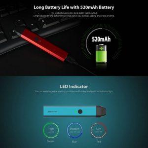 Caliburn Battery capacity and led indicator