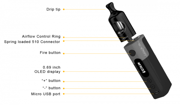 e-cigarette Aspire Zelos kit vape device in detail