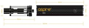 Dimensions of electronic cigarette Aspire K3 with tank and battery