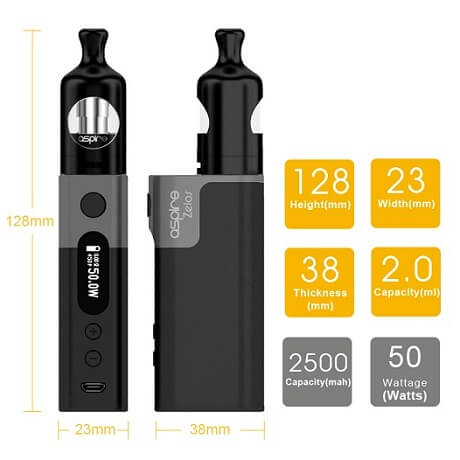 Specifications of Aspire Zelos ecigarette