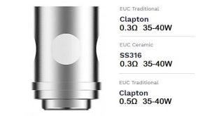 Vaporesso EUC Coils wattage guide