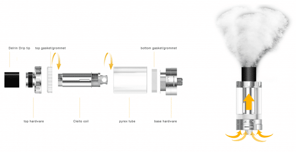 Aspire Cleito Tank Clearomizer airflow in detail