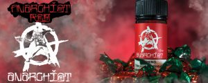 Anarchist E-liquid Red banner with Strawberry Candy