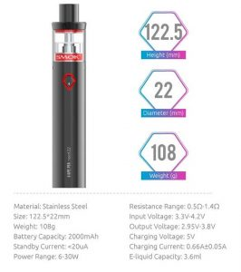 Dimensions and Specifications of Smok Vape Pen Nord 22
