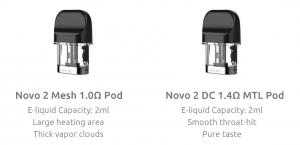 Novo Coil Pods different resistances