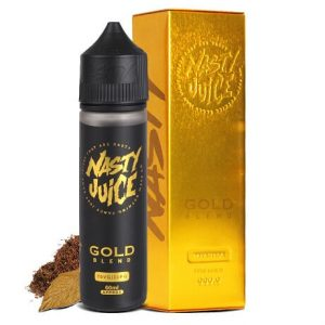 Nasty Juice Gold Tobacco Vape Juice Bottle with tobacco leaves
