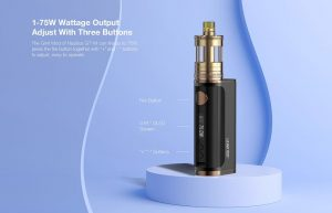 Wattage settings and buttons of Aspire Glint