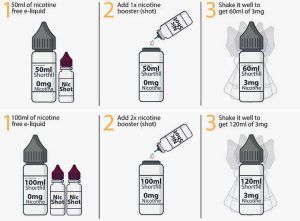 Nicotine guide for mixing 120ml and 60ml e-liquid bottles or shortfills