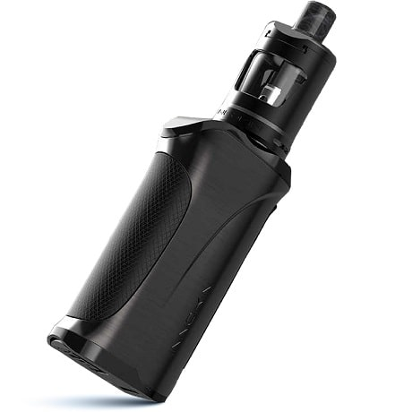 Black Innokin Kroma R 80w mod and Black Zlide vape tank white background