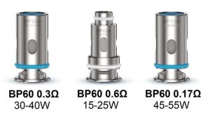 BP60 coils recommended wattage