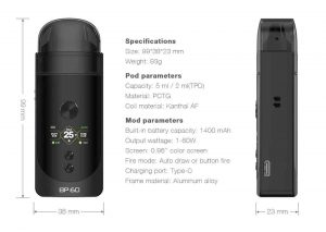 BP60 Vape pod Aspire and its dimensions and specifications