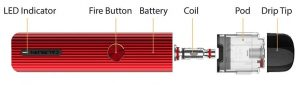 Caliburn G e-cigarette and spare parts in detail