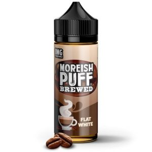 Flat White 120ml e-liquid bottle by Moreish Puff