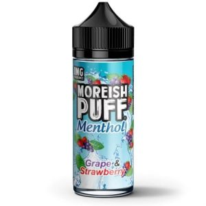 Grape and Strawberry 120ml Vape Juice bottle by Moreish Puff Menthol
