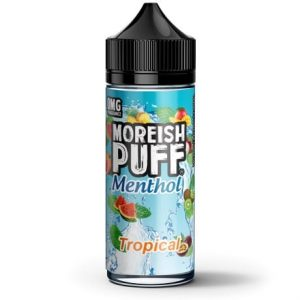 Tropical Menthol 120ml Vape Juice bottle by Moreish Puff Menthol