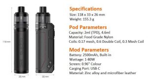 Aspire BP80 Pod Mod Dimensions and Specifications