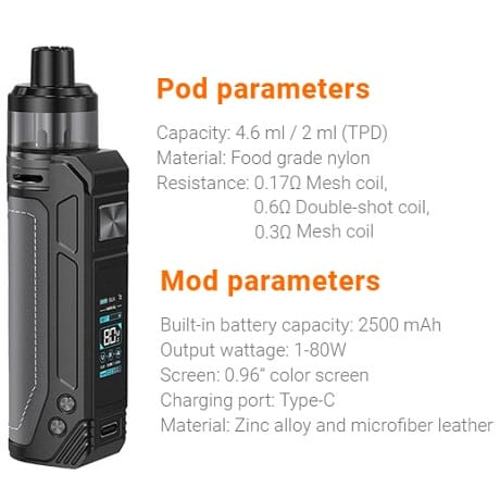 Aspire BP80 Pod Mod Vape kit Parameters and Specifications